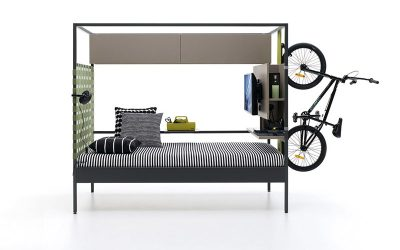 Cama Nook con game center y soporte para bicis