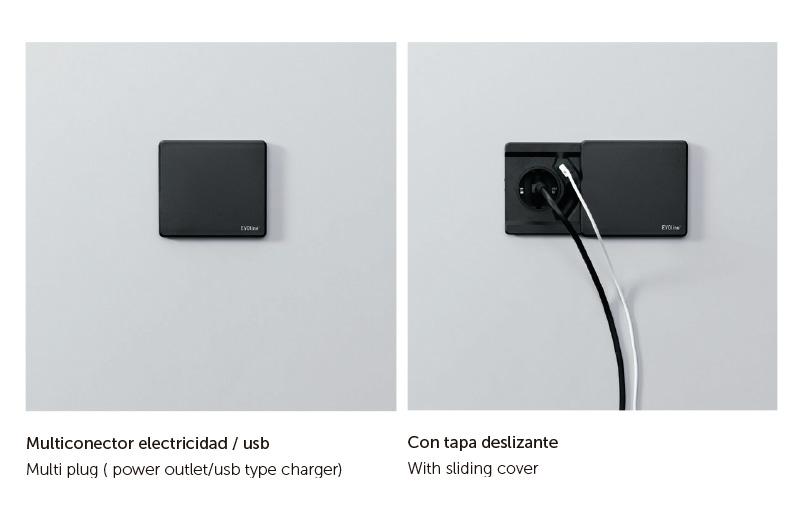 Multiconector usb y electricidad