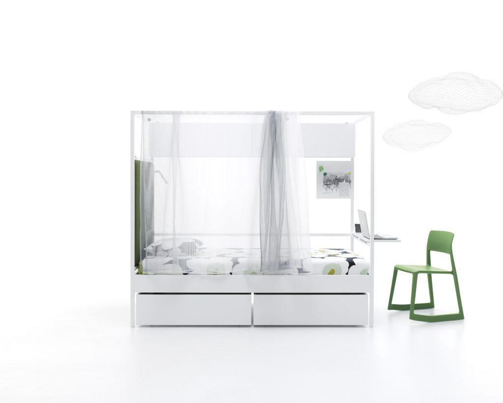 Cama Nook con escritorio doble y cama nido extraíble