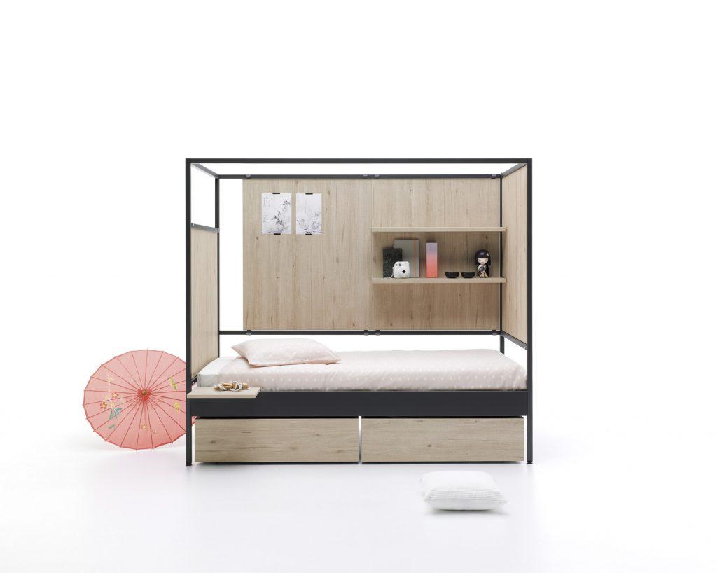 Elegante composición de cama Nook con paneles lisos