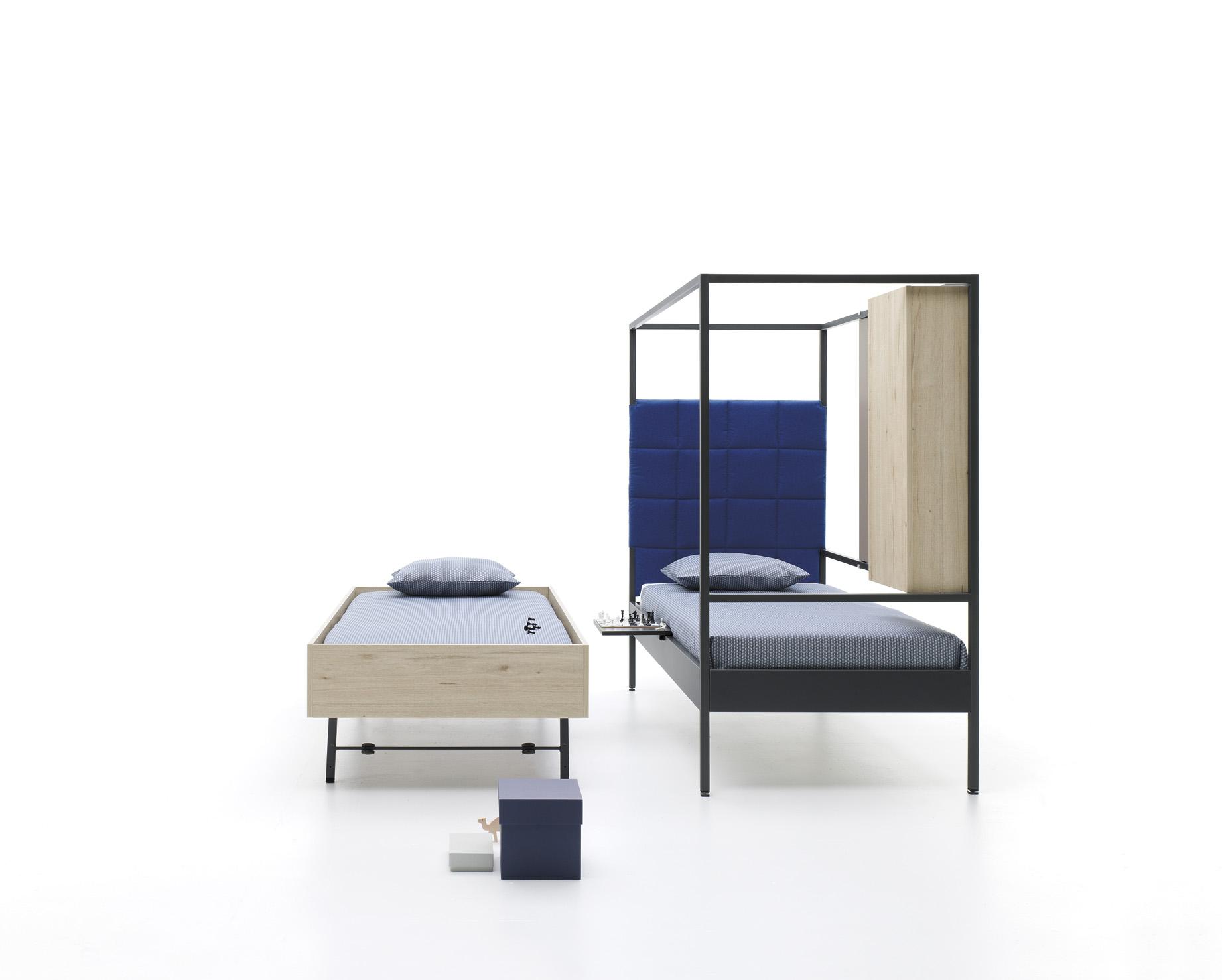 Estructura cama con contenedor y cabezal acolchado