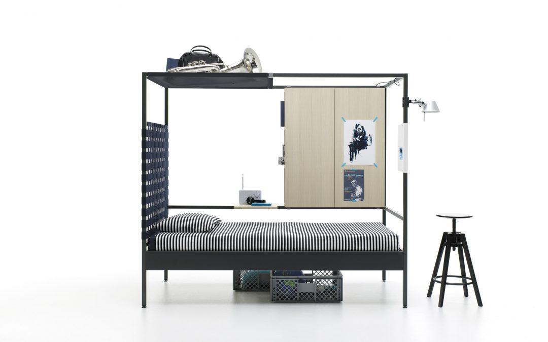 Cama NookBed con módulo contenedor estantería y red porta objetos