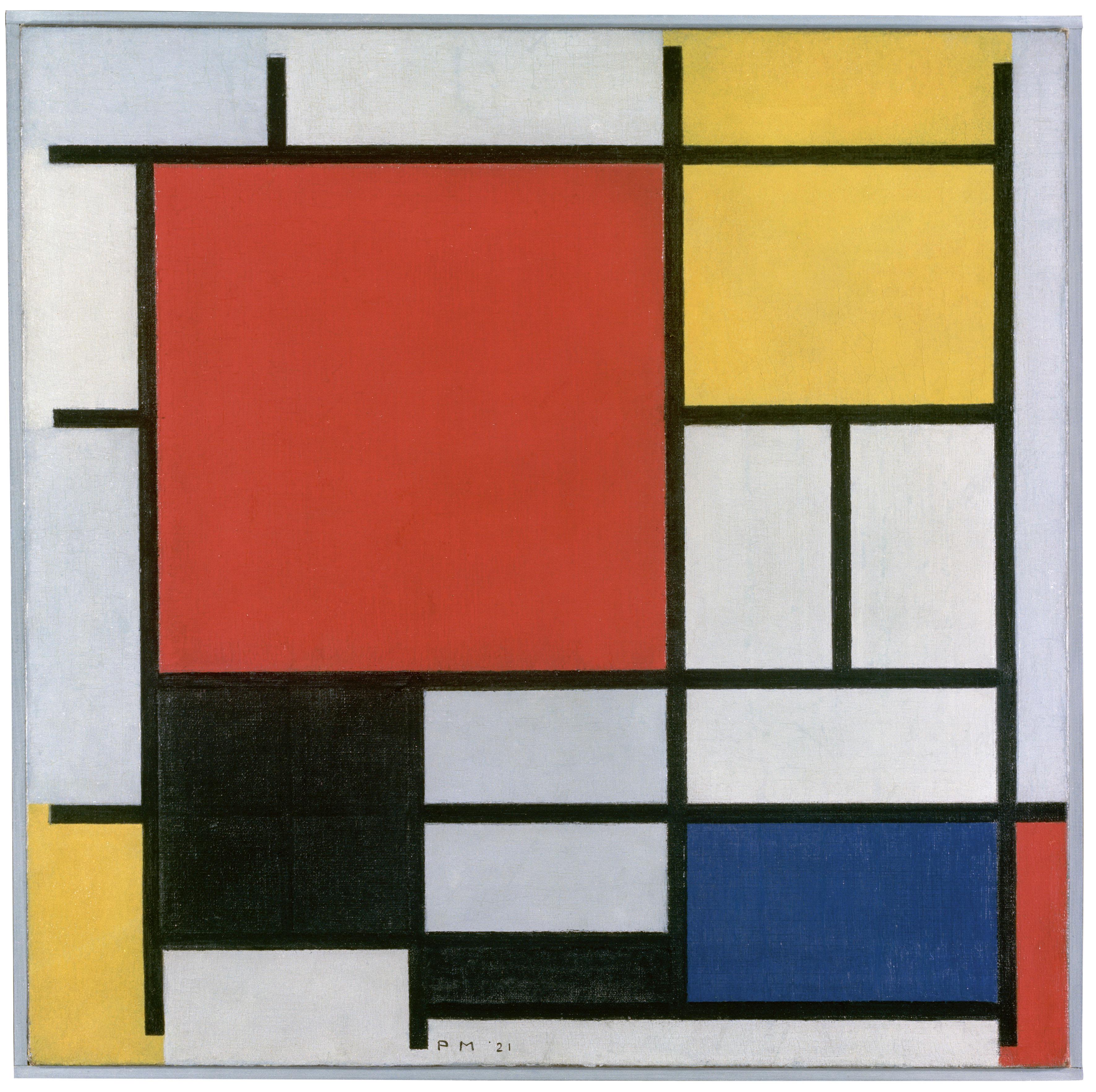 Composición en rojo, amarillo, azul y negro, 1921. Mondrian